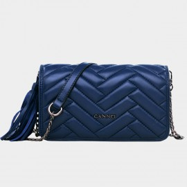 Cannci Rectangle Quilted Fringe Accent Lambskin Navy Shoulder Bag (H51496)