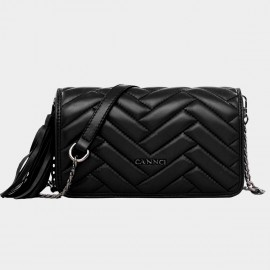 Cannci Rectangle Quilted Fringe Accent Lambskin Black Shoulder Bag (H51496)