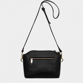 Cannci Long Strapped Zipper Puller Leather Black Shoulder Bag (D11488)