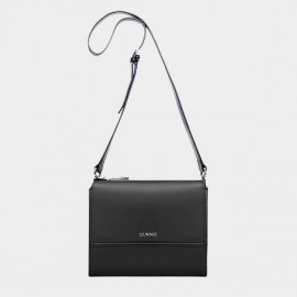 Cannci Hexagonal Side Leather Black Shoulder Bag (Y21500)