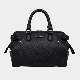 Cannci Exposed U-Seam Folded Base Leather Black Top Handle (H11623)