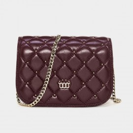 Cannci Diamond Quilted Metallic Bead Lambskin Wine Shoulder Bag (H11469)
