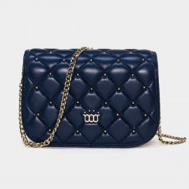 Cannci Diamond Quilted Metallic Bead Lambskin Navy Shoulder Bag (H11469)