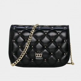 Cannci Diamond Quilted Metallic Bead Lambskin Black Shoulder Bag (H11469)
