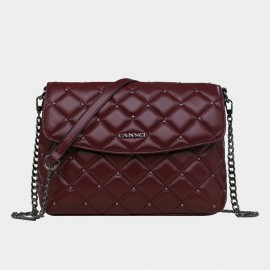 Cannci Diamond Quilted Chain Strap Lambskin Wine Shoulder Bag (H51497)