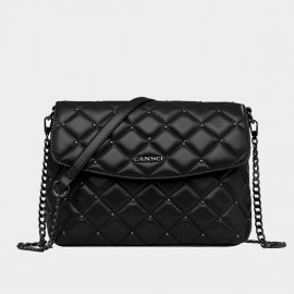 Cannci Diamond Quilted Chain Strap Lambskin Black Shoulder Bag (H51497)