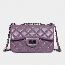 Cannci Boxy Diamond Quilted Lambskin Purple Shoulder Bag (H51617)
