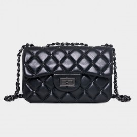 Cannci Boxy Diamond Quilted Lambskin Black Shoulder Bag (H51617)