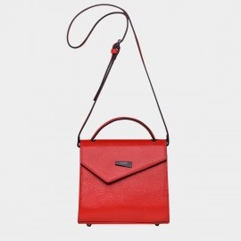 Cannci Asymmetric Flap Feet Stud Leather Red Shoulder Bag (H11618)