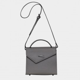 Cannci Asymmetric Flap Feet Stud Leather Grey Shoulder Bag (H11618)