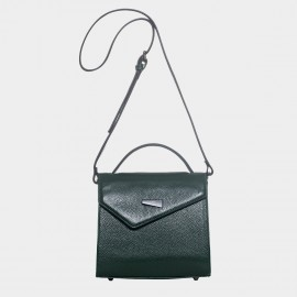 Cannci Asymmetric Flap Feet Stud Leather Green Shoulder Bag (H11618)