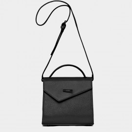 Cannci Asymmetric Flap Feet Stud Leather Black Shoulder Bag (H11618)