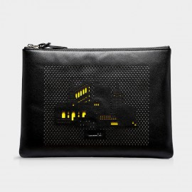 U.Life Black Buildings Yellow Handbag (S1006U)