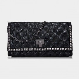 Top Beauty Sequined Black Clutch (TB0069)