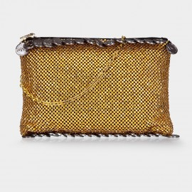 Top Beauty Two-Tone Bead Gold Clutch (TB0070)