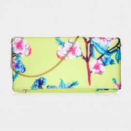 Top Beauty Floral Print Yellow Clutch (TB0072)