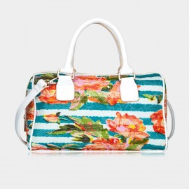 Top Beauty Floral Print White Top Handle Bag (TB0073)
