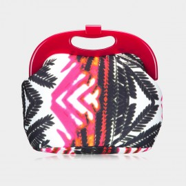 Top Beauty Tropical Plant Print Red Clutch (TB0074)