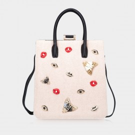 Top Beauty Embellished Beige Tote Bag (TB0078)