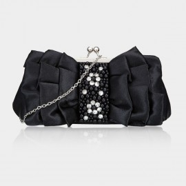 Top Beauty Bead Pleated Black Clutch (TB0082)