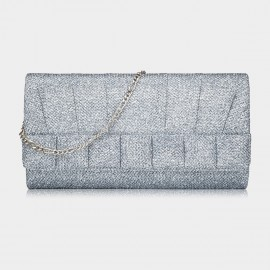 Top Beauty Shiny Pleated Silver Clutch (TB0083)
