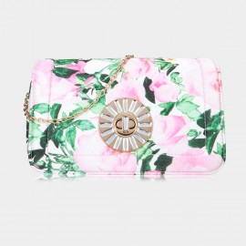 Top Beauty Floral Print Pink Clutch (TB0084)