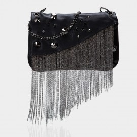 Top Beauty Chain Accent Black Clutch (TB0087)