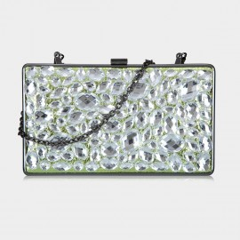 Top Beauty Faux Crystal Box Green Clutch (TB0092)