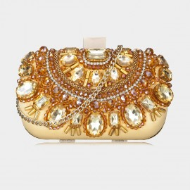 Top Beauty Crystal Embellished Metallic Gold Clutch (TB0093)