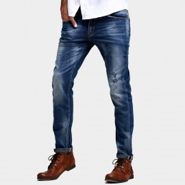 Kuegou Whisker Worn-Out Washed Blue Jeans (FK-2027)