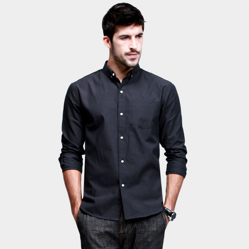 KUEGOU Classic Button-Down Black Shirt (ZC-5541) - 0cm