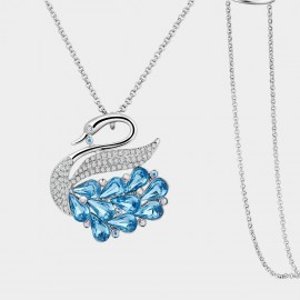 SEVENTY 6 Love Swan Sea Ocean Blue Long Chain (7971)
