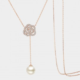 SEVENTY 6 Full Moon Rose Gold Long Chain (7972)