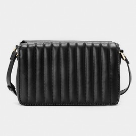 Jessie & Jane Double Sided Quilted Texture Leather Black Shoulder Bag (JJ15FFF1006)