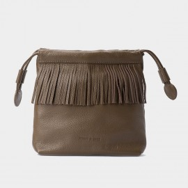 Jessie & Jane Pastel Tassel Drawstring Brown Shoulder Bag (JJ15SSF1082)
