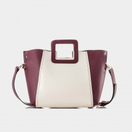 Jessie & Jane Square Handle Colorblock Leather Wine Tote (JJSBD13165)