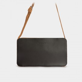 Jessie & Jane Round-Corner Rectangular Leather Black Shoulder Bag (JJWBD11048)