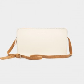 Jessie & Jane Round-Corner Rectangular Leather White Shoulder Bag (JJWBD11048)