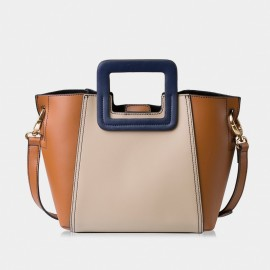 Jessie & Jane Tessellation Colorblock Leather Brown Tote Bag (TMJ14FF1039)