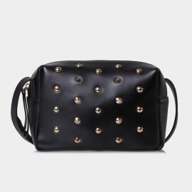 Jessie & Jane Wild Studs Leather Black Shoulder Bag (TMJ14FF1042)