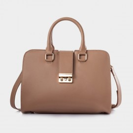 Jessie & Jane Solid Two Way Leather Apricot Satchel (TMJ14SF1040)