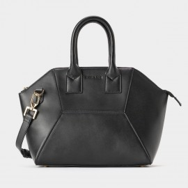 Jessie & Jane Hexa Patch Black Leather Tote Bag (TMJ15FF1079)