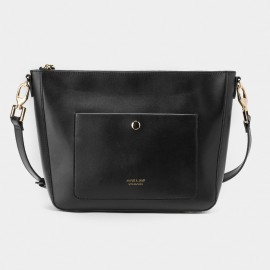 Jessie & Jane Long Strap Leather Black Shoulder Bag (TMJ15FF1171)