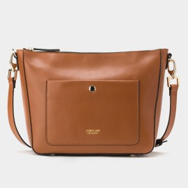 Jessie & Jane Long Strap Leather Brown Shoulder Bag (TMJ15FF1171)