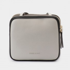Jessie & Jane Triplet Leather Grey Shoulder Bag (TMJ15SF1068)