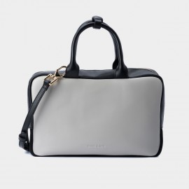 Jessie & Jane Rectangular Box Leather Grey and Black Top Handle (TMJ15SF1095)