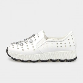 Jady Rose Faux Crystal Punch-Hole Leather White Sneaker (16DR1-0016)