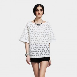 Vanilla Chocolate Decomposed Cube Mesh Accent Off White Tee (V612126770 )