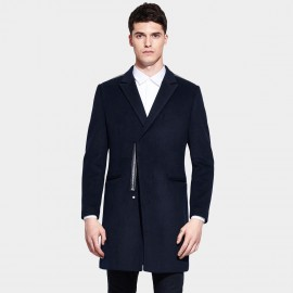 Basique Notch Lapel Leather Lined Thigh Navy Coat (27.0015)