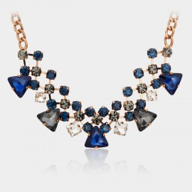 Caromay Vintage Crystal Net Sapphire Necklace (X0291)